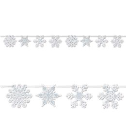 12 Wholesale Snowflake Streamer Glitter Print; Assembly Required