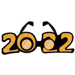 12 Wholesale 2022  Glittered Plastic Eyeglasses Gold; One Size Fits Most
