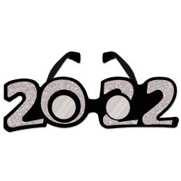12 Wholesale 2022  Glittered Plastic Eyeglasses Silver; One Size Fits Most