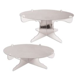 12 Wholesale Metallic Cake Stands Silver; Foil 2 Sides; Assembly Required; 1-4  High & 1-6  High