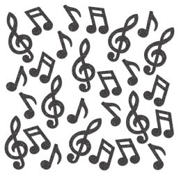 12 Wholesale Musical Note Deluxe Sparkle Confetti Black
