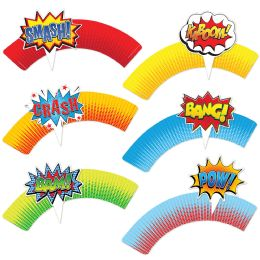 12 Wholesale Hero Cupcake Wrappers 12-4 Action Word Toppers Included