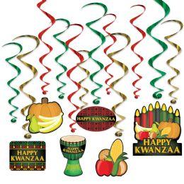 6 Wholesale Happy Kwanzaa Whirls 6 Whirls W/icons; 6 Plain Whirls