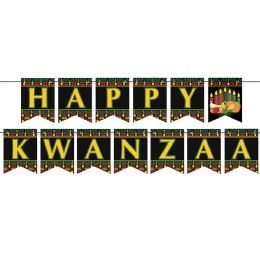 12 Wholesale Happy Kwanzaa Streamer Assembly Required