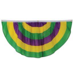 6 Wholesale Mardi Gras Fabric Bunting Indoor & Outdoor Use; 3 Grommets