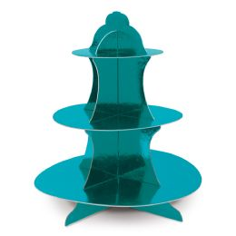 12 Wholesale Metallic Cupcake Stand Turquoise; Foil 2 Sides; Assembly Required