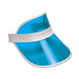12 Wholesale Clear Blue Plastic Dealer's Visor One Size Fits Most