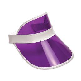 12 Wholesale Clear Purple Plastic Dealer's Visor One Size Fits Most