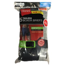 24 Units of Hanes Men's Boxer Briefs - 5 Pack - Mens Underwear