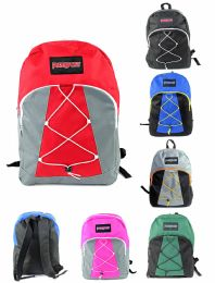 """12 Units of 17"""" Bungee Backpacks - Assorted Colors - Backpacks 17"""""""