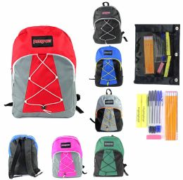 "12 Bulk 17"" Classic Bungee Backpack & High School Supply Kit Sets"