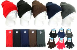 180 Units of Children's Cuffed Knit Hats, Magic Gloves, And Solid Scarves - Winter Sets Scarves , Hats & Gloves