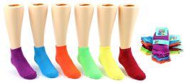 24 Bulk Girl's Low Cut Novelty Socks - Neon Solid Colors - Size 6-8