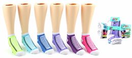 24 Bulk Girl's Low Cut Novelty Socks - Sneaker Print - Size 6-8