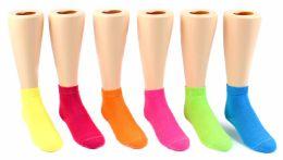 24 Bulk Kid's Novelty Ankle Socks - Solid Neon Colors - Size 6-8