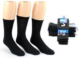 24 Units of Men's Athletic Tube Socks - Black - Size 10-13 - Mens Tube Sock