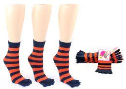 24 of Women's Toe Socks - Blue & Orange Striped Print - Size 9-11