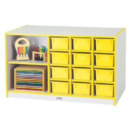 Rainbow Accents Mobile Storage Island - With Trays - Yellow - Art