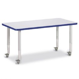 """Berries Rectangle Activity Table - 24"""" X 48"""", Mobile - Gray/blue/gray - Berries"""