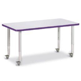 "Berries Rectangle Activity Table - 24"" X 48"", Mobile - Gray/purple/gray - Berries"