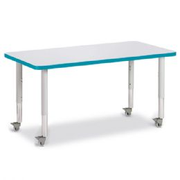 """Berries Rectangle Activity Table - 24"""" X 48"""", Mobile - Gray/teal/gray - Berries"""