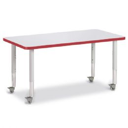 """Berries Rectangle Activity Table - 24"""" X 48"""", Mobile - Gray/red/gray - Berries"""
