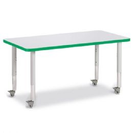 """Berries Rectangle Activity Table - 24"""" X 48"""", Mobile - Gray/green/gray - Berries"""