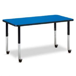 "Berries Rectangle Activity Table - 24"" X 48"", Mobile - Blue/black/black - Berries"