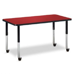 """Berries Rectangle Activity Table - 24"""" X 48"""", Mobile - Red/black/black - Berries"""