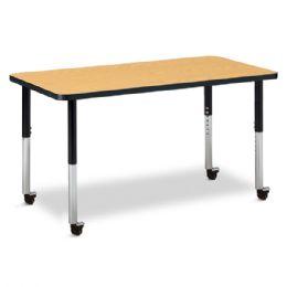 "Berries Rectangle Activity Table - 24"" X 48"", Mobile - Oak/black/black - Berries"