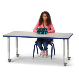 """Berries Rectangle Activity Table - 30"""" X 60"""", Mobile - Gray/blue/gray - Berries"""