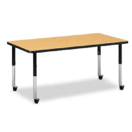 "Berries Rectangle Activity Table - 30"" X 60"", Mobile - Oak/black/black - Berries"