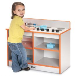 Rainbow Accents Toddler 2-IN-1 Kitchen - Orange - Dramatic Play