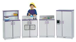 Rainbow Accents Play Kitchen 4 Piece Set - Red - Dramatic Play