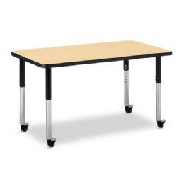"Wholesale Berries Rectangle Activity Table - 24"" X 36"", Mobile - Maple/black/black"