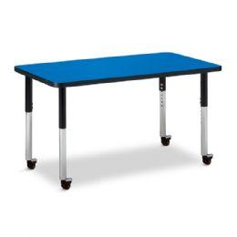"""Wholesale Berries Rectangle Activity Table - 24"""" X 36"""", Mobile - Blue/black/black"""