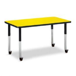 "Wholesale Berries Rectangle Activity Table - 24"" X 36"", Mobile - Yellow/black/black"
