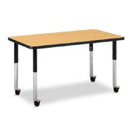 """Wholesale Berries Rectangle Activity Table - 24"""" X 36"""", Mobile - Oak/black/black"""
