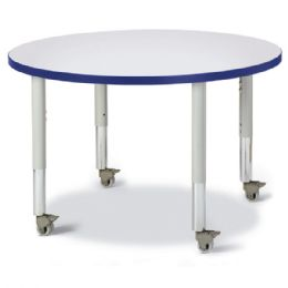 """Wholesale Berries Round Activity Table - 36"""" Diameter, Mobile - Gray/blue/gray"""