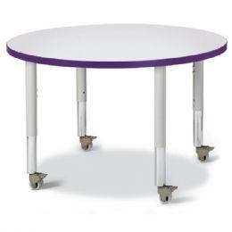 "Wholesale Berries Round Activity Table - 36"" Diameter, Mobile - Gray/purple/gray"