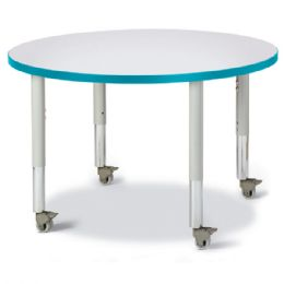 """Wholesale Berries Round Activity Table - 36"""" Diameter, Mobile - Gray/teal/gray"""