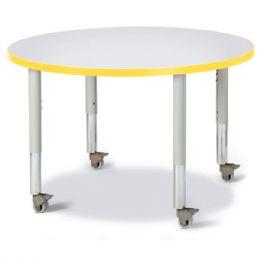 "Wholesale Berries Round Activity Table - 36"" Diameter, Mobile - Gray/yellow/gray"