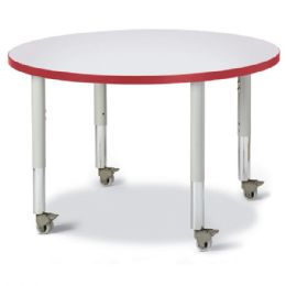 """Wholesale Berries Round Activity Table - 36"""" Diameter, Mobile - Gray/red/gray"""