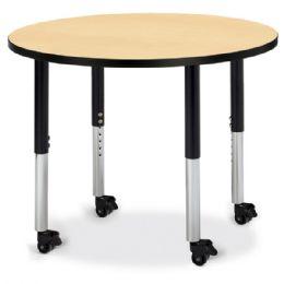 "Wholesale Berries Round Activity Table - 36"" Diameter, Mobile - Maple/black/black"
