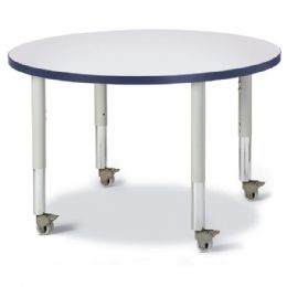 "Wholesale Berries Round Activity Table - 36"" Diameter, Mobile - Gray/navy/gray"