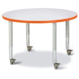 "Wholesale Berries Round Activity Table - 36"" Diameter, Mobile - Gray/orange/gray"