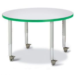 """Wholesale Berries Round Activity Table - 36"""" Diameter, Mobile - Gray/green/gray"""