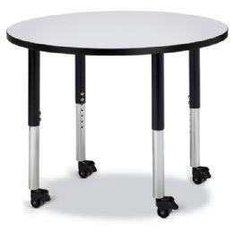 "Wholesale Berries Round Activity Table - 36"" Diameter, Mobile - Gray/black/black"