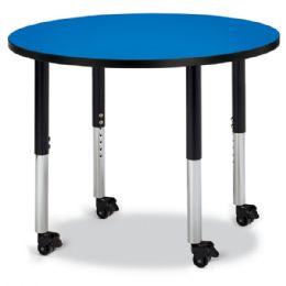 "Wholesale Berries Round Activity Table - 36"" Diameter, Mobile - Blue/black/black"