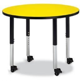 "Wholesale Berries Round Activity Table - 36"" Diameter, Mobile - Yellow/black/black"